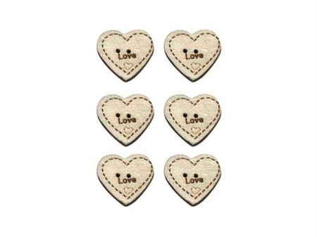 """Imagem de BTW009522 ... Botões de Côco """"Coração LOVE"""""""