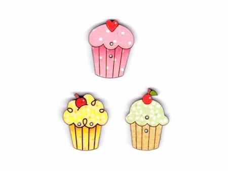 """Imagem de BTW008770 ... Botões de Madeira """"Cupcakes Trio"""" - (2x3cm)"""