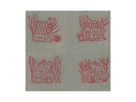 """Imagem de KTM009116 ... Kit de Bordar """"Redwork Houses"""" - Painel de 50x50cm"""