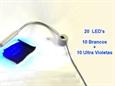 Imagem de UTS202720-UV ... Candeeiro com Base Magnética com 20 LED's ULTRA VIOLETA